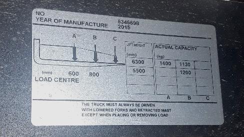 Forklift truck data plate